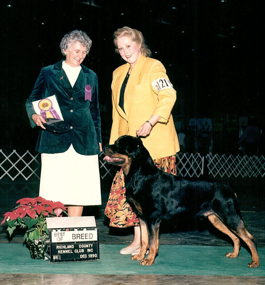 """Chase"" winning Best of Breed at the ARC Regional Specialty"